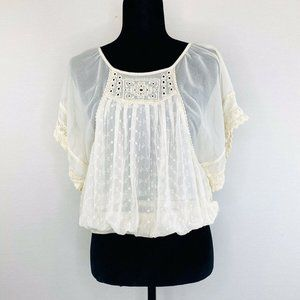 Free People Boho Blouse Top Embroidery Sheer Sz XS